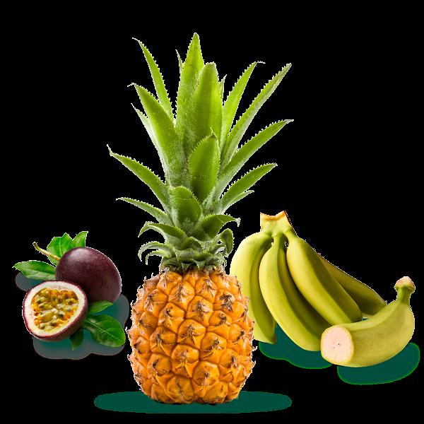 Fruit de la passion, bananes et ananas victoria