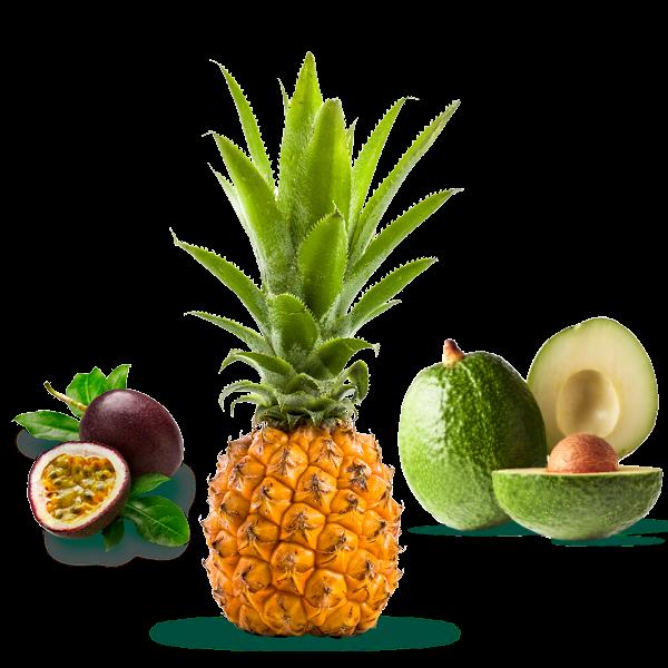 Fruit de la passion, avocats et ananas victoria