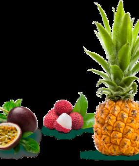Fruit de la passion, letchi et ananas victoria